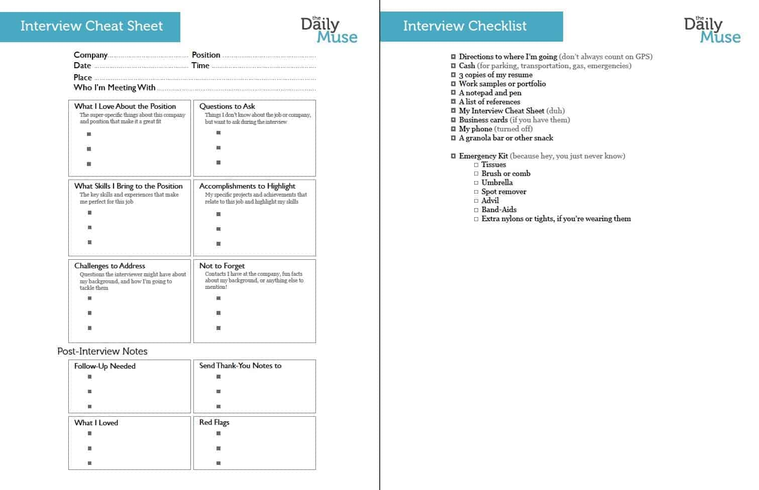 Daily Muse Interview Checklist  My Resume Builder